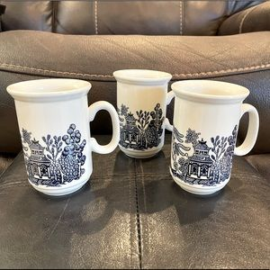 3 x Churchill Blue Willow Mugs